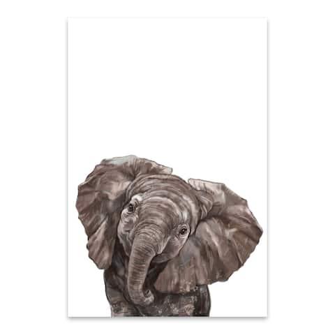 Noir Gallery Baby Elephant Peekaboo Animal Metal Wall Art Print