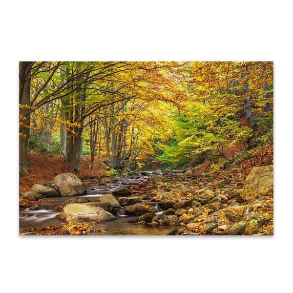 Canvas Art Home Decor 24x36 inches Wooded stream in Autumn