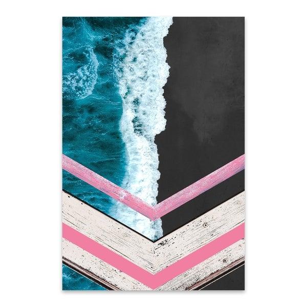 Noir Gallery Black Sand Waves Crashing Beach Metal Wall Art Print