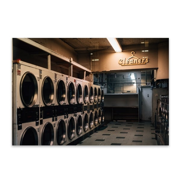 Jon Bilous 'Cleaners' Noir Gallery Coin Laundry New York City Metal Wall  Art Print