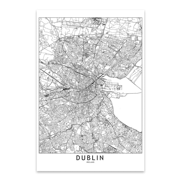 multipliCITY 'Dublin Black and White City Map' Metal Wall Art Print. Opens flyout.