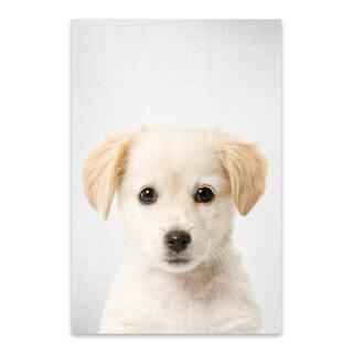 Noir Gallery Gal Design 'Golden Retriever Puppy' Metal Puppy Nursery Peekaboo Animal Wall Art Print