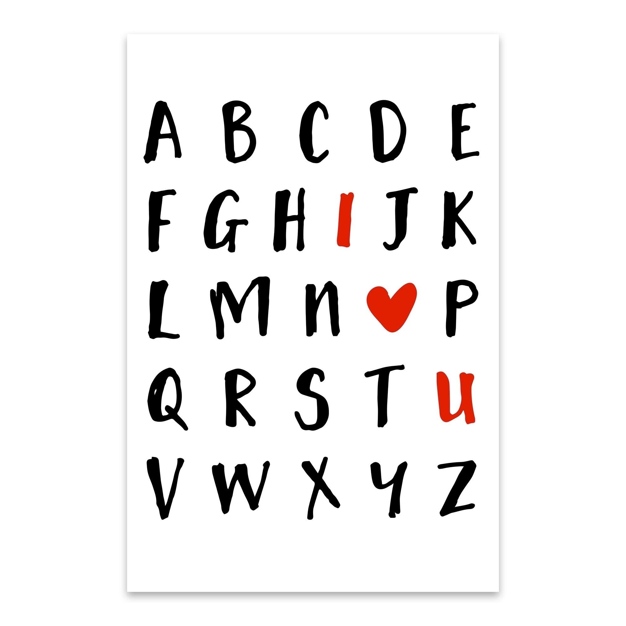 Shop Emiliano Deificus I Love You Alphabet Noir Gallery Love Alphabet Typography Aluminum Wall Art Print Overstock 27561651