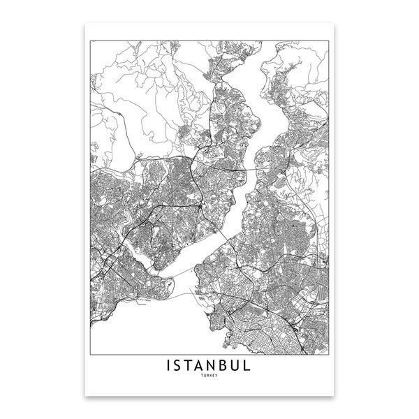 multipliCITY 'Istanbul White Map' Black & White City Map Metal Wall Art  Print