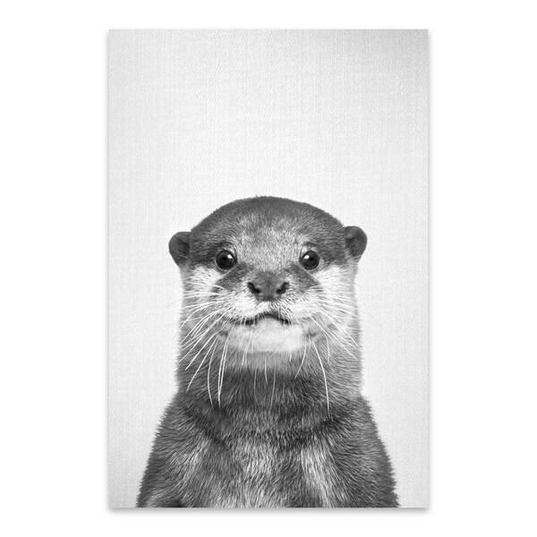 7c4cb32c6e Shop Gal Design 'Otter - Black & White' Metal Wall Art Print - Free ...