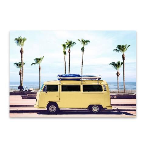 Porch & Den Surfer's Yellow Van' VW Van' Photo Metal Wall Art Print