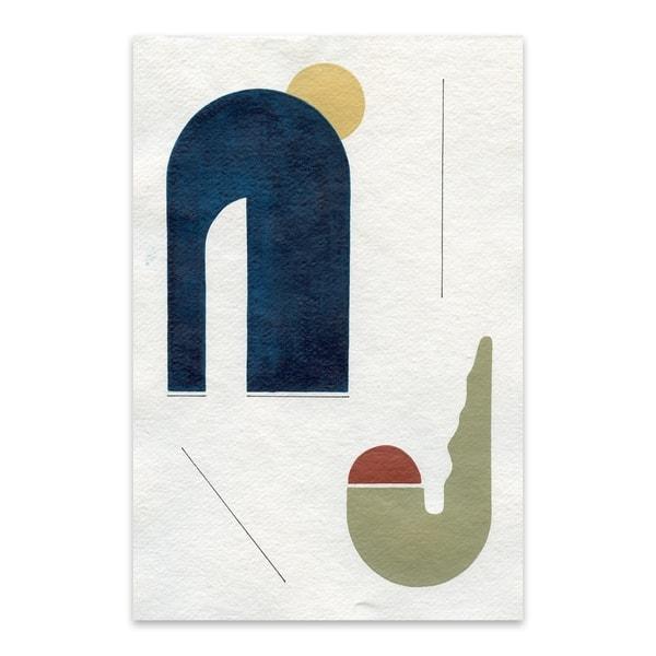 Noir Gallery Sunrise Over The Desert Cactus Abstract Minimal Geometric Shape Metal Wall Art Print