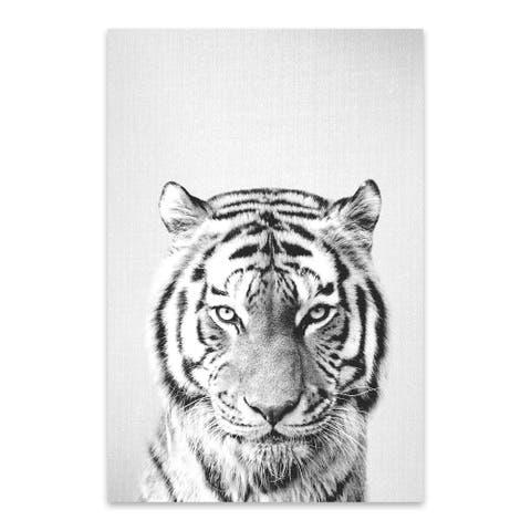 Noir Gallery Gal Design 'Tiger - Black & White' Animal Metal Wall Art Print