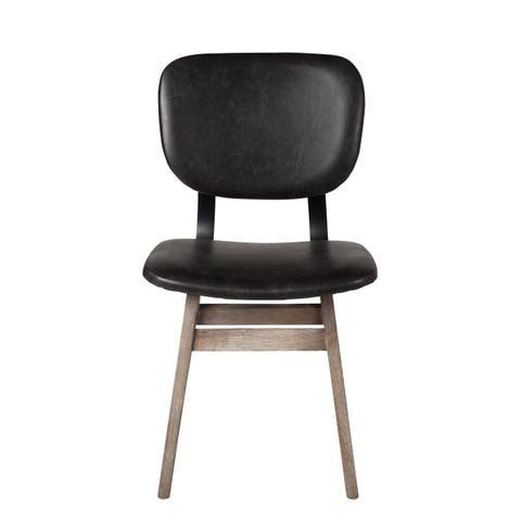 Spanish Side Dining Chair in Black Leather