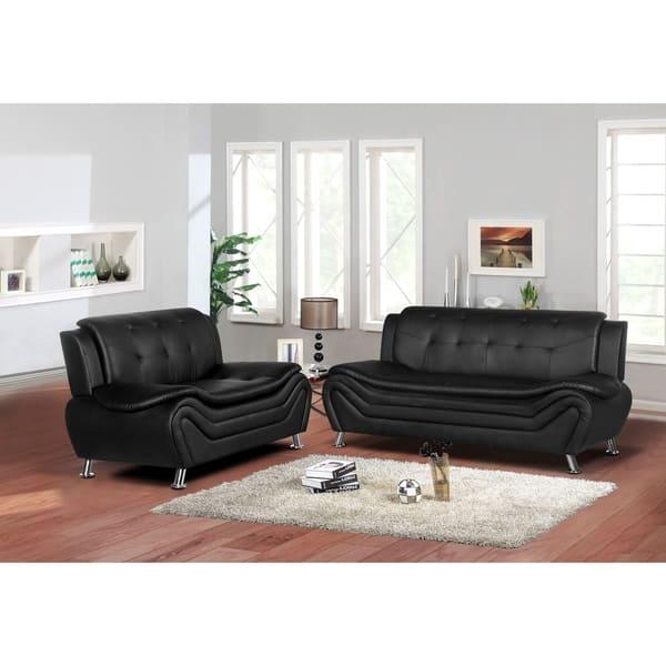 Shop Jasmine Faux leather 2pc Living room Set - Free ...
