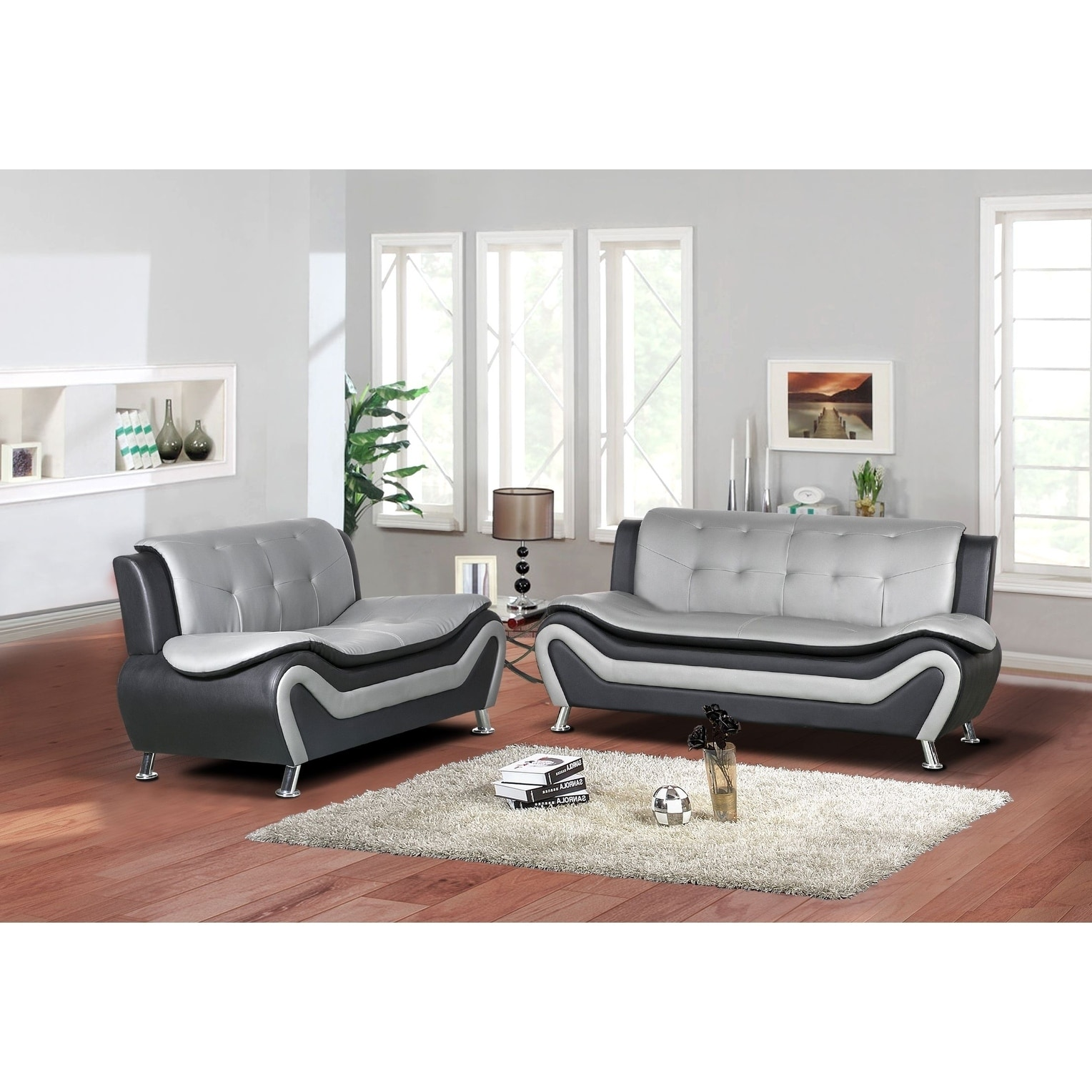 Jasmine Faux leather 2pc Living room Set