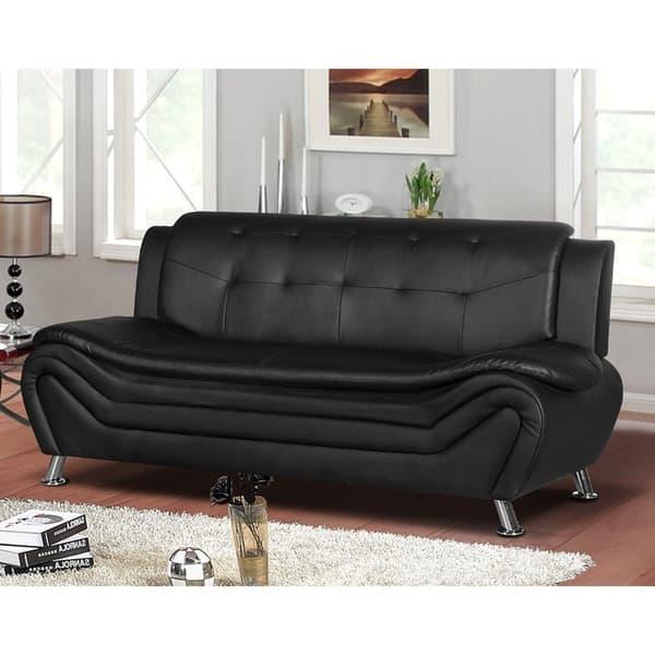 Shop Jasmine Faux leather Living room Sofa - Free Shipping ...