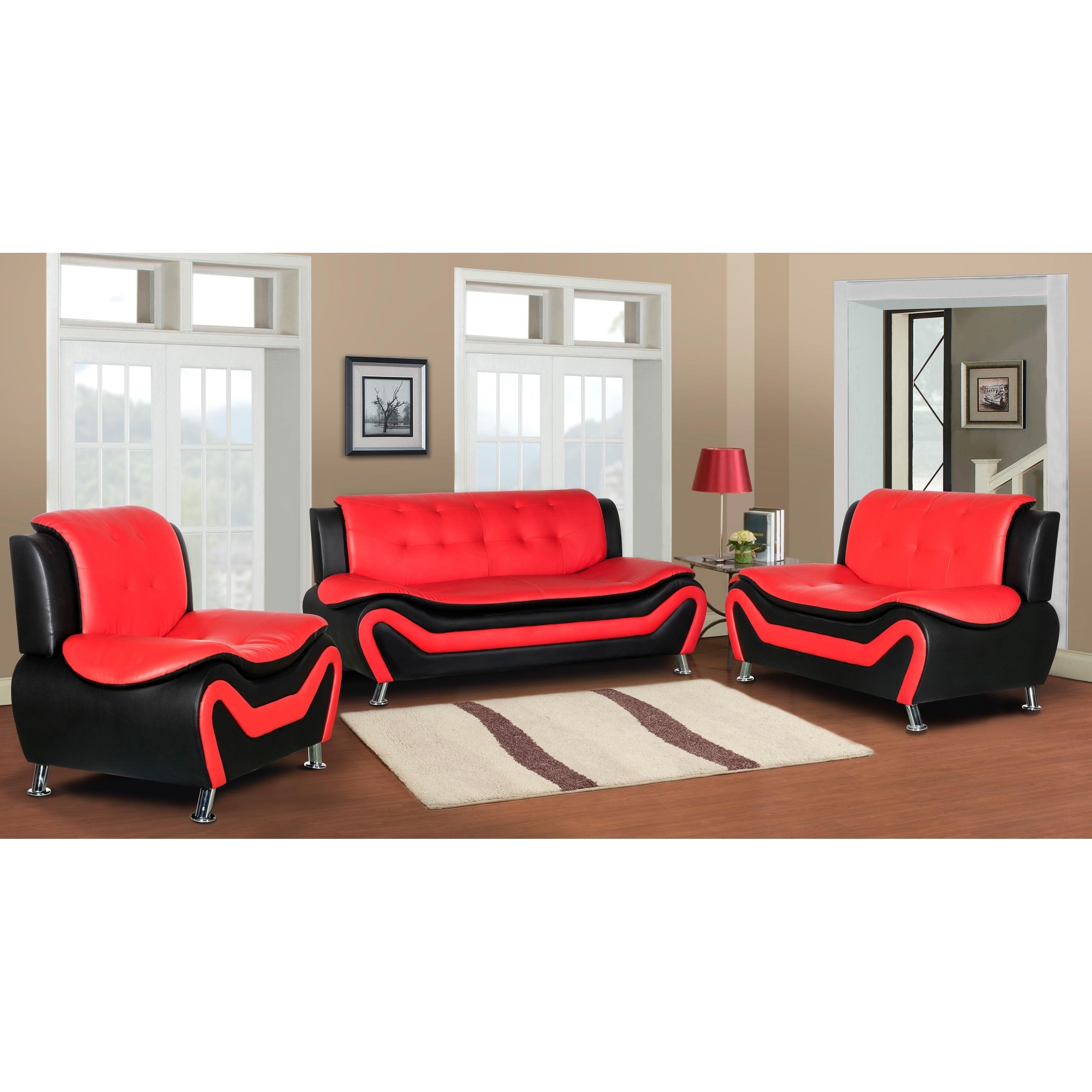 Jasmine Faux Leather 3pc Living Room Set On Sale Overstock 27564772