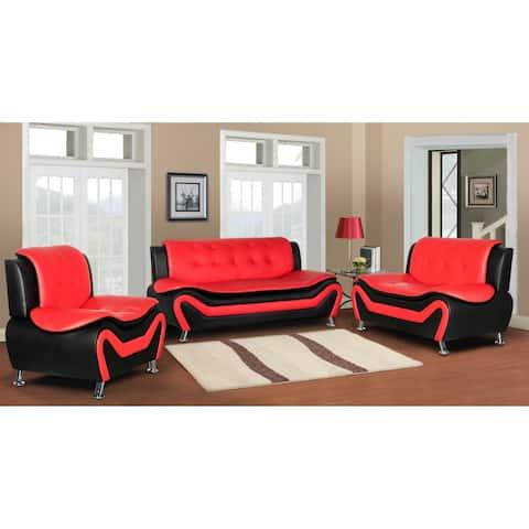 Jasmine Faux Leather 3-piece Living Room Set