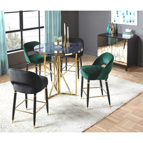 Shop Luxurious Modern Design Stainless Steel Dining Set: Shop Luxurious Marble Top Counter Height Dining Set With