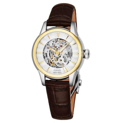 Oris Women's 560 7687 4351 LS 70 'Artelier' Silver Skeleton Dial Brown Leather Strap Date Swiss Automatic Watch