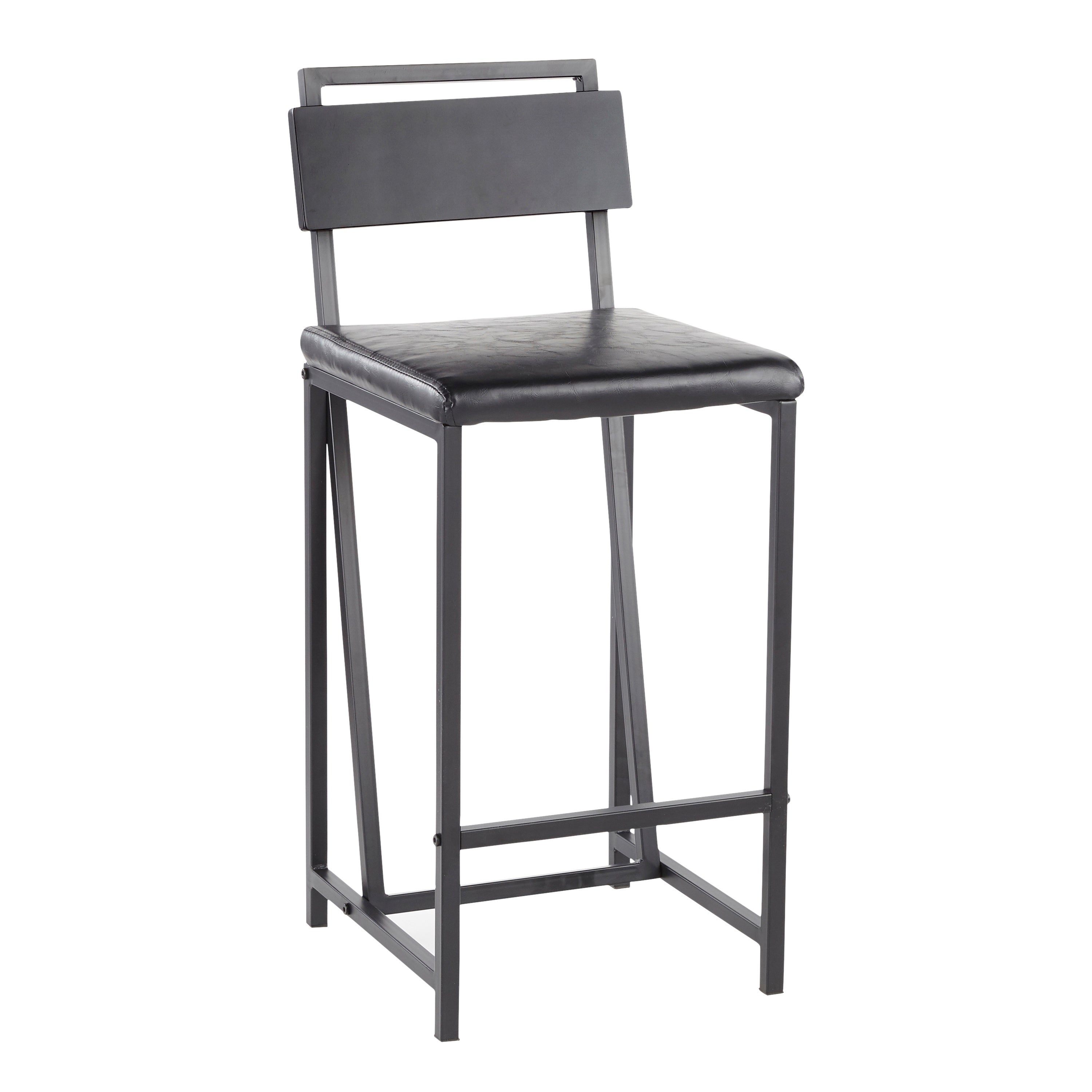 Pleasant Carbon Loft Gunn Industrial Black Wood Metal Faux Leather Counter Stool Set Of 2 Squirreltailoven Fun Painted Chair Ideas Images Squirreltailovenorg