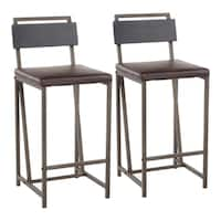 Carbon Loft Gunn Industrial Black Wood Metal Faux Leather Counter Stool (Set of 2)