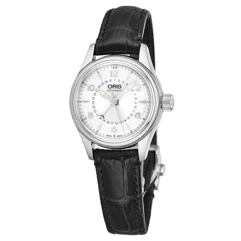 Oris Women's 01 594 7680 4061-07 5 14 76FC 'Big Crown' Silver Dial Black Leather Strap Pointer Date Swiss Automatic Watch