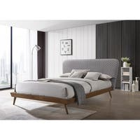 LuXeo Avalon Mid Century Bed with Wood Frame and Gray Fabric