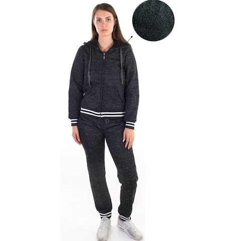 Women's 2-piece jogger and hoodie set with faux sherpa lining, space dye material