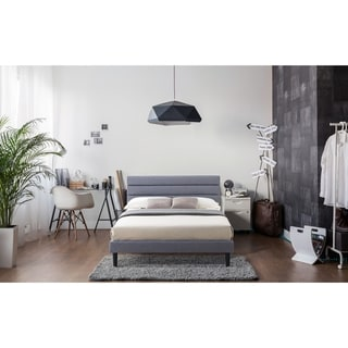 LuXeo Essential Brisbane Upholstered Panel Platform Bed in Gray Fabric