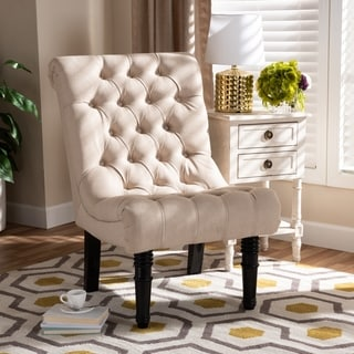Baxton Studio Fabric Upholstered Wood Accent Chair with Rolled Back