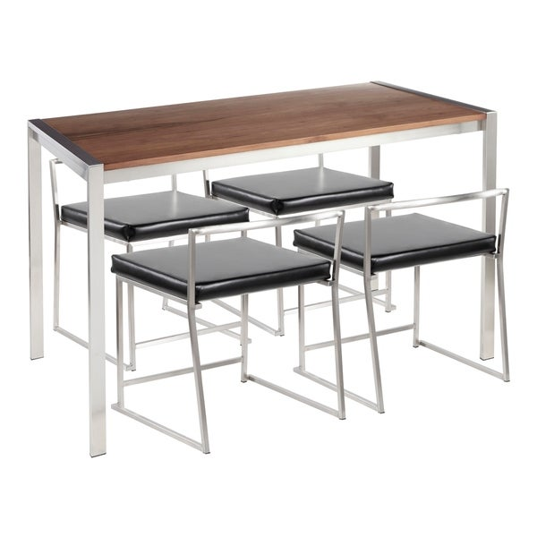 Silver Orchid La Plante Stainless Steel Dining Set with Walnut Wood Top