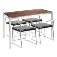 Copper Grove Lukovit Stainless Steel Dining Set with Walnut Wood Top