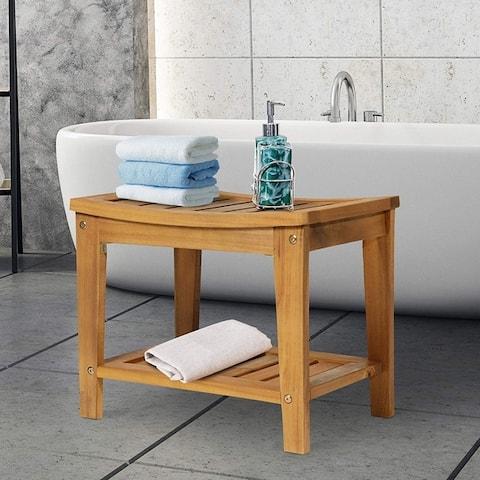 "Modern Natural Solid Acacia Wood Sturdy Bathroom Shower Bench - 13.75"" X 21"""