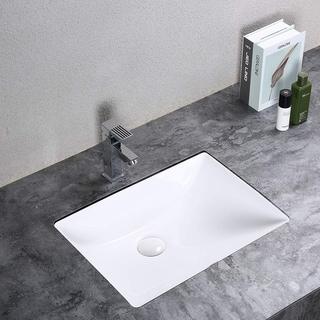 Rectangular Ceramic Modern Single Undermount Basin Bathroom Vanity Sink - White