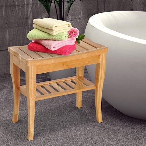 "HomCom 20"" Long Bamboo Wood Shower Bench Seat With Lower Storage Shelf"