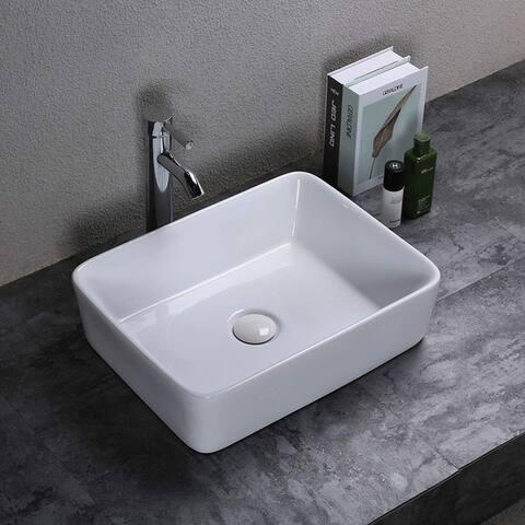 Rectangular Ceramic Above Counter Art Basin Vessel Bathroom Sink