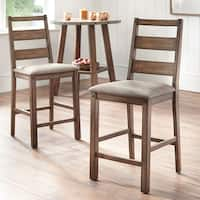 Simple Living Elenora Rubberwood/Faux Leather Counter-height Stools - Set of 2