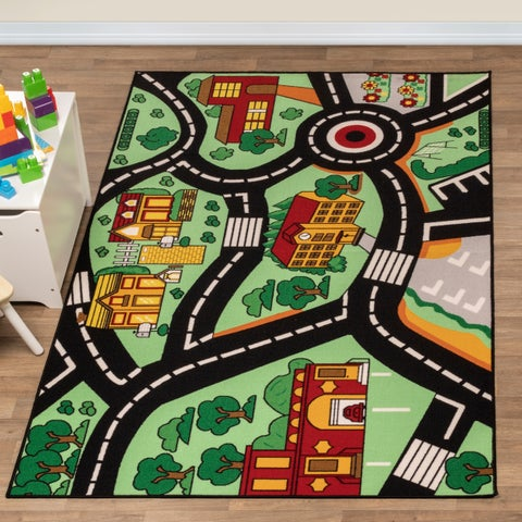 Superior City Cruising Kids' Non-slip Area Rug