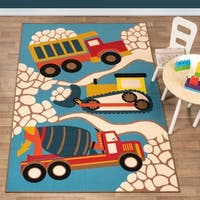 Superior Construction Zone Kids' Non-slip Area Rug