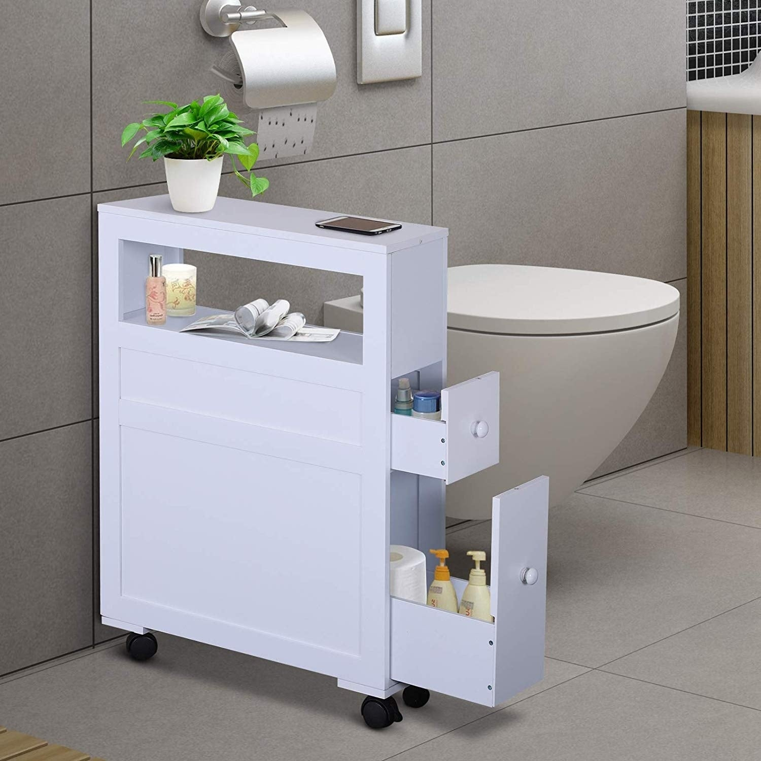 Shop Wood Rolling Narrow Bathroom Side Storage Cabinet Overstock 27565256