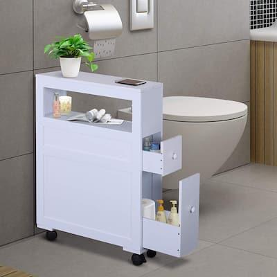 Wood Rolling Narrow Bathroom Side Storage Cabinet