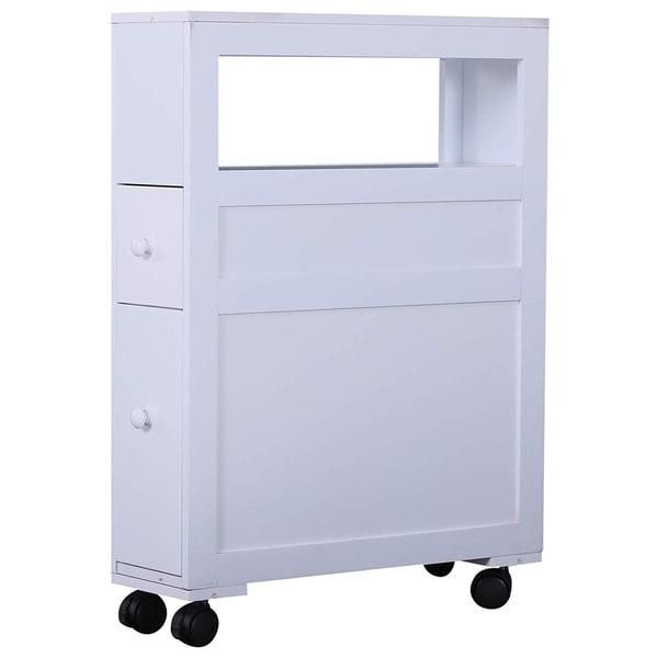 Rolling Slim Bathroom Storage Organizer 2 Drawers Toilet Paper Shelf White Black