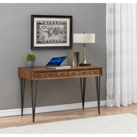 Somette Oxford Distressed Brown Wood/Iron Two-drawer Writing Desk/Console Table