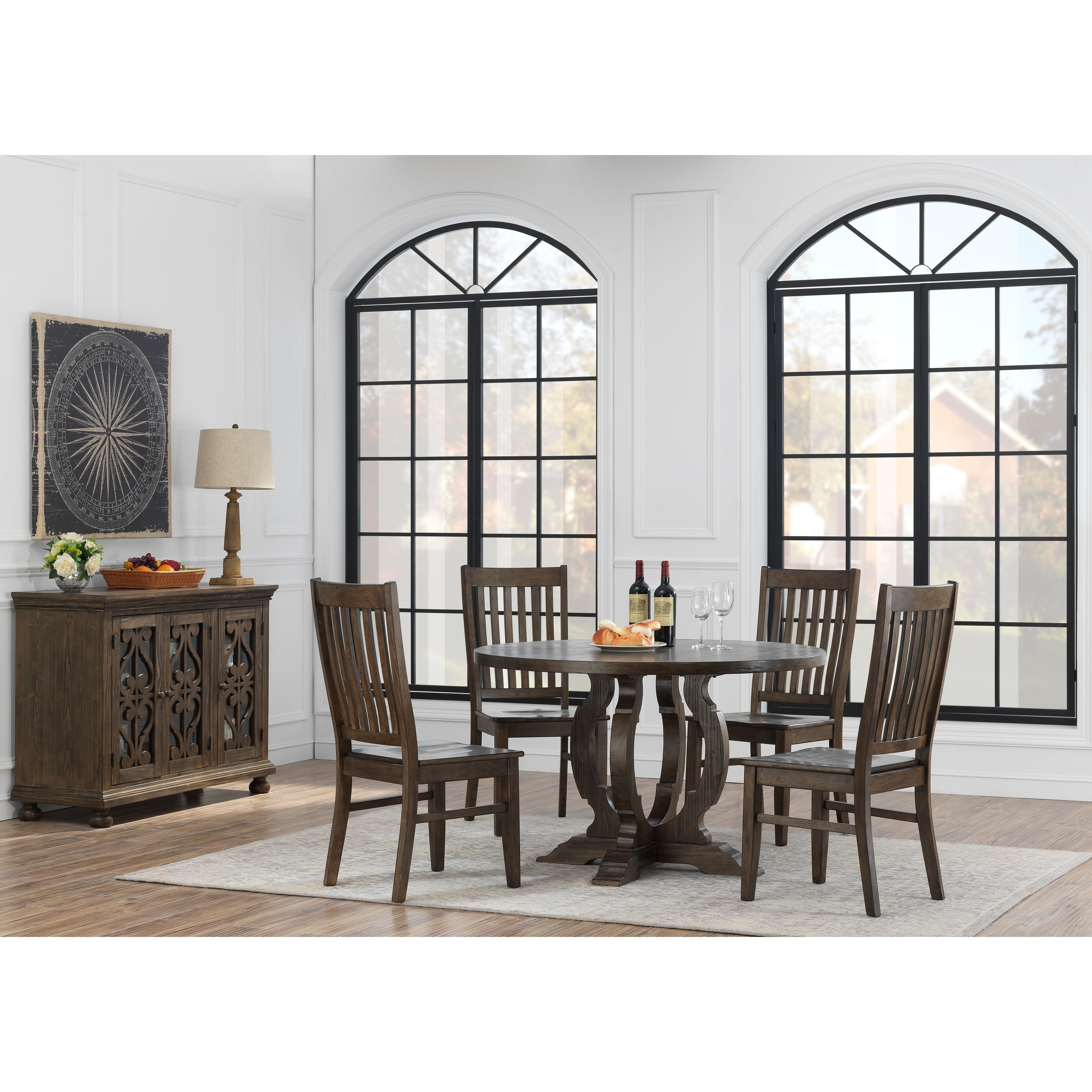 """Table H Et H somette orchard park round dining table, brown - 48""""w x 48""""l x 30""""h"""