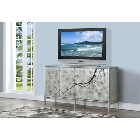 "Somette Four Door Media Credenza, Silvermist Winter Forest - 70""W x 19""L x 39""H"