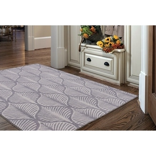 "RugSmith Gray Deco Leaf Floral Ikat Area Rug - 7'6"" x 9'6"""