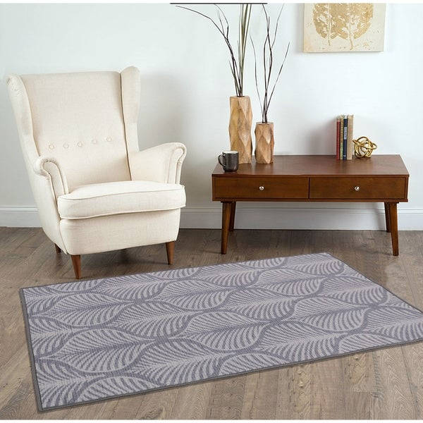 RugSmith Gray Deco Leaf Floral Ikat Area Rug - 3' x 5'