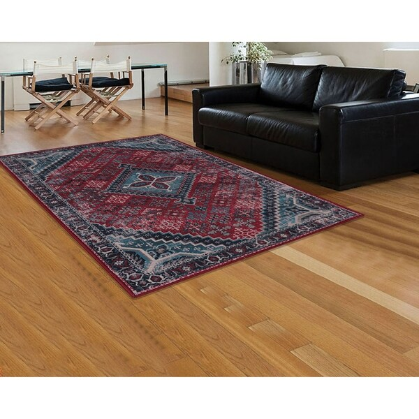 RugSmith Red Esmee Distressed Transitional Area Rug - 5' x 7'