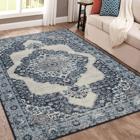 Porch & Den Dober Distressed Sapphire Floral Medallion Area Rug - 3' x 5'