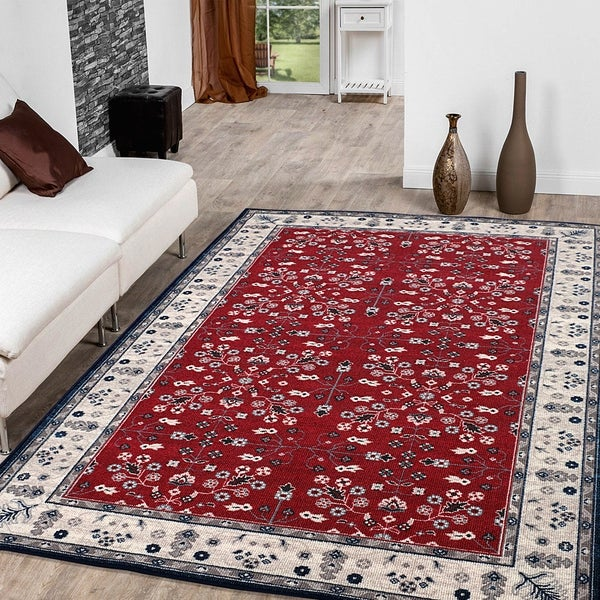 "RugSmith Red Vintage Garden Transitional Floral Area Rug - 7'6"" x 9'6"""