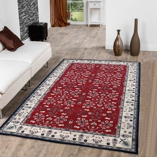 RugSmith Red Vintage Garden Transitional Floral Area Rug - 5' x 7'