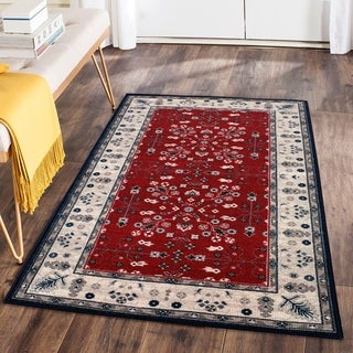 RugSmith Red Vintage Garden Transitional Floral Area Rug - 3' x 5'