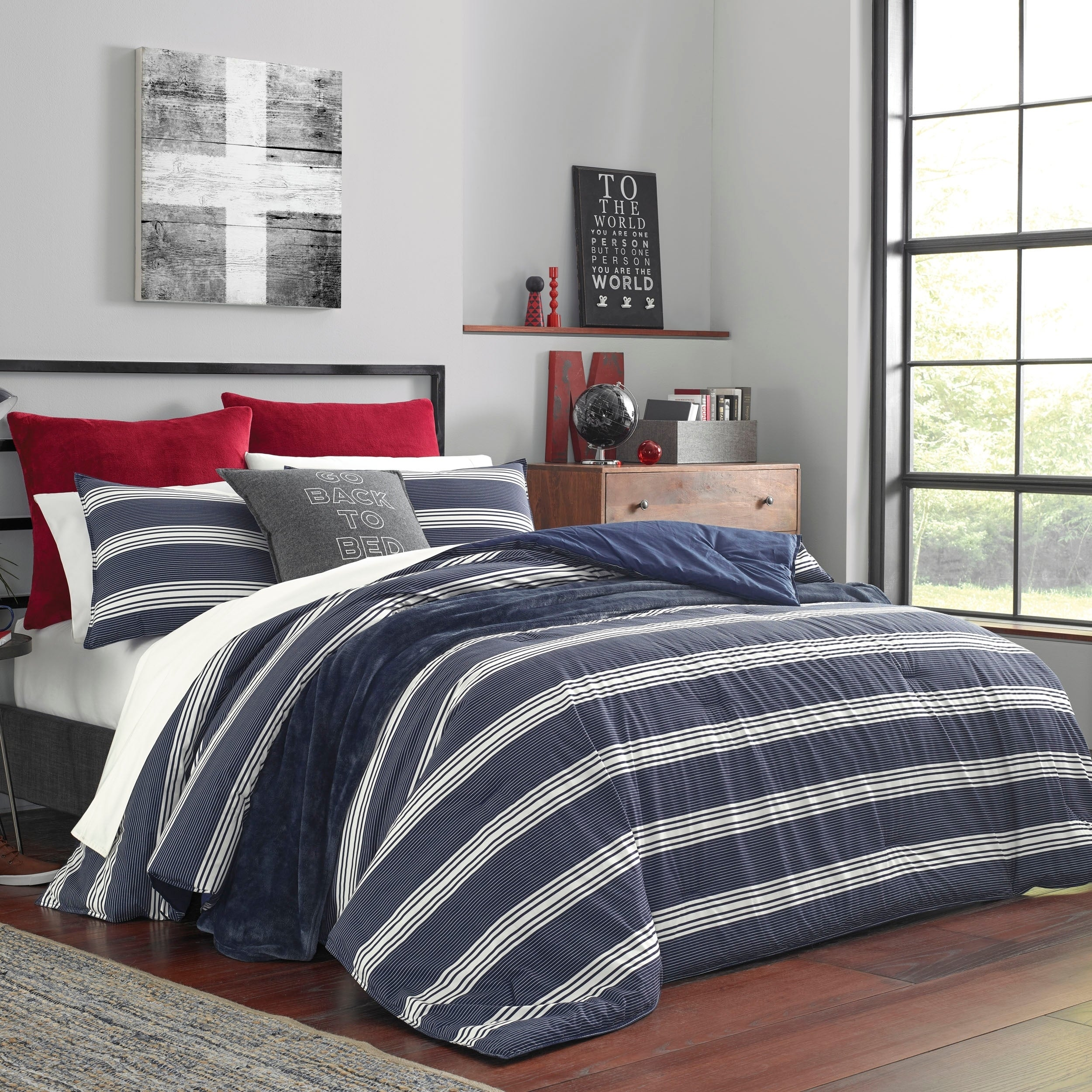 Nautica Craver Navy Comforter Set Overstock 27565962 Full Full Queen 3 Piece